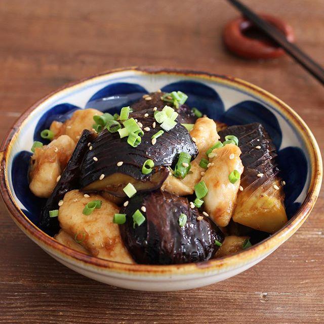 お弁当に人気!ごま油香るささみと茄子の甘酢焼き