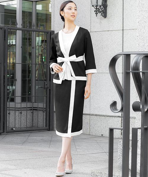 [GIRL] ノーカラージャケット&タイトスカートの2点セットアップスーツ - ビジネス・オフィスシーン対応フォーマルキャリアスーツ