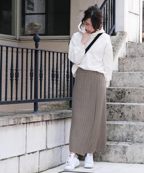 [ANDJ] ラップダブルリブロング丈スリットニットスカート
