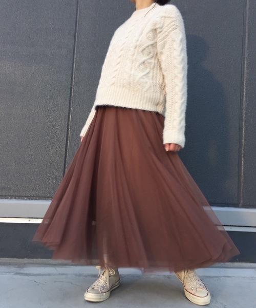 [minius] ロングボリュームチュールスカート