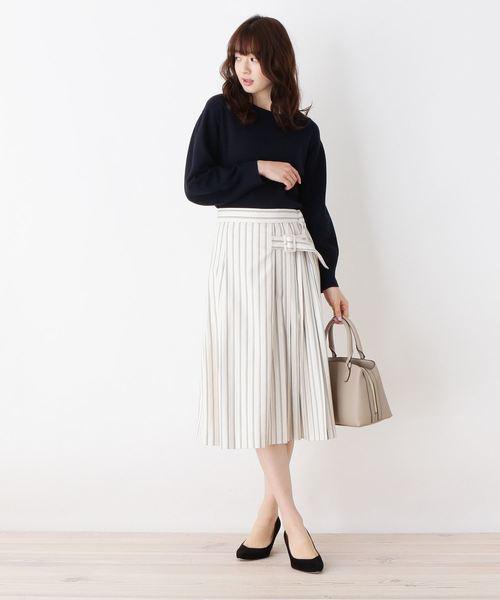 [OPAQUE.CLIP] 【洗える】サイドプリーツストライプスカート