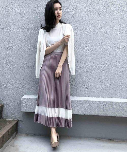 [PICCIN] 裾シアーシフォン切り替えプリーツスカート