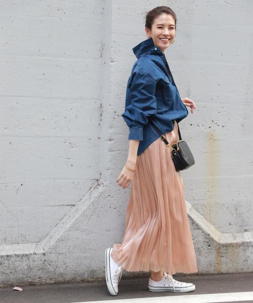 [BABYLONE] Bシャンブレープリーツスカート