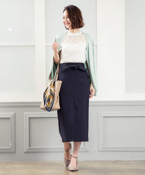 [kobelettuce] [ミディアム丈/ロング丈]ウエストリボン付き2Wayストレッチタイトベイカースカート