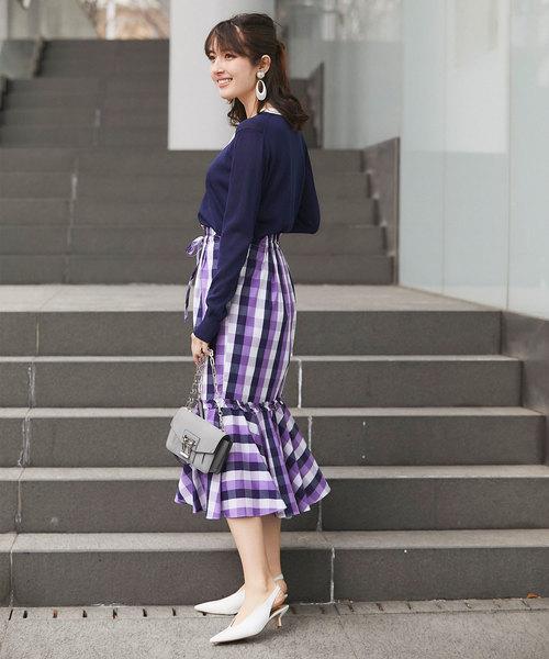 ギンガムチェックのパープルスカートの春コーデ