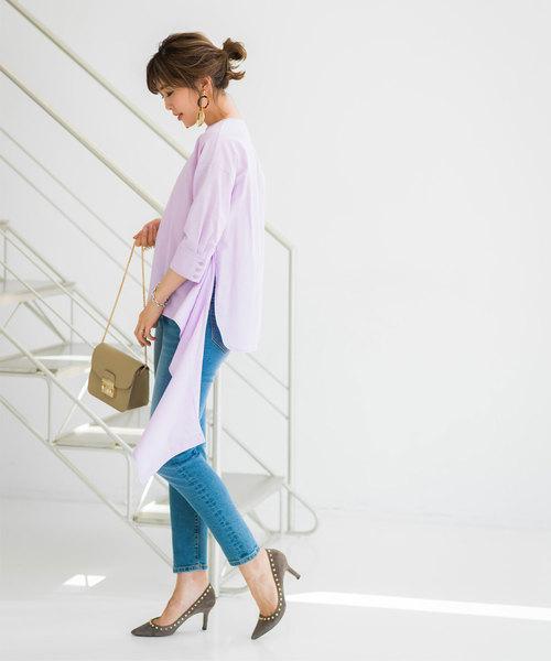 [tocco closet] 《Noriko&Michiko Collaboration》リネン混2WAYアシンメトリーブラウス