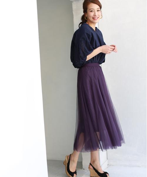 [REAL CUBE] チュールロングスカート