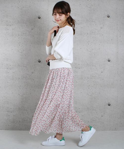 [ABITOKYO] 花柄ふんわりプリーツスカート
