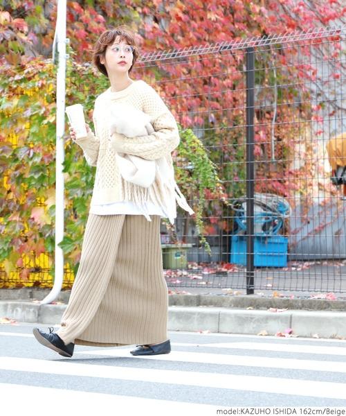 [coca] やわらかリブニットIライン巻きスカート