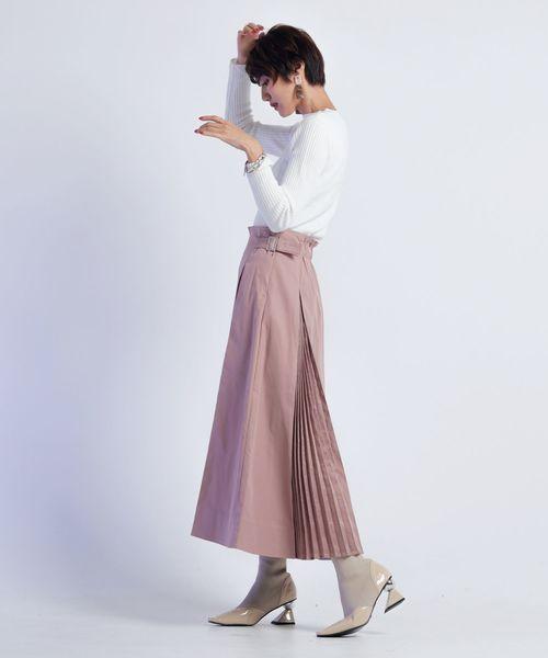 [LADYMADE] プリーツ切り替えフレアスカート
