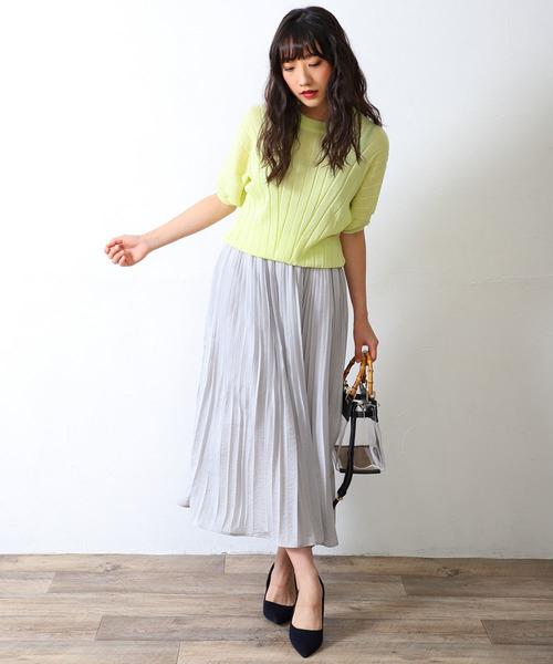 [HER CLOSET] 【vingtrois】エアリー微光沢サテンプリーツスカート