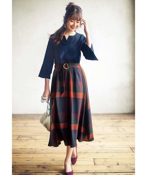 [GeeRA] 【19秋新着】ビッグチェックフレアースカート