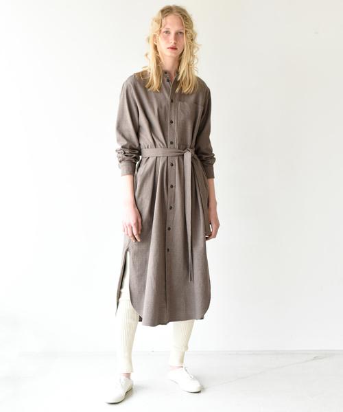 [Bshop] 【unfil】コットンフランネル シャツドレス WOMEN