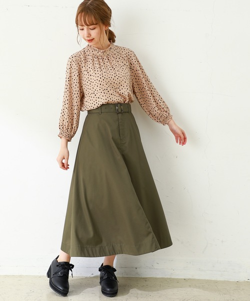 [Honeys] ベルト付フレアスカート