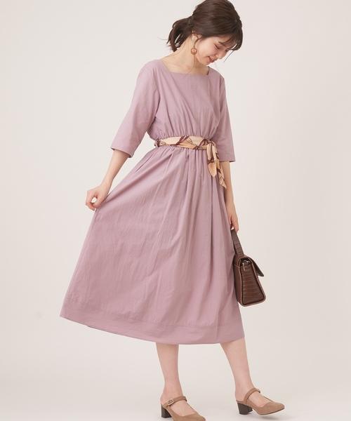 11[natural couture] スカーフ&共ベルト付き前後2WAYワンピ2