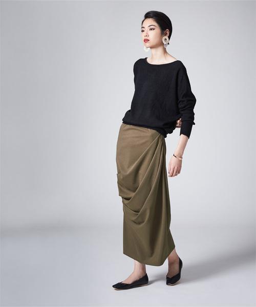 [titivate] タックドレープロングカットスカート