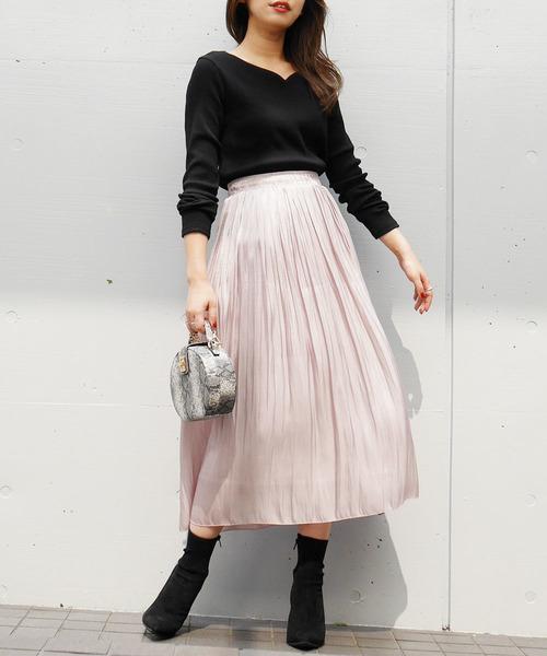 [Roomy's] シャイニープリーツスカート