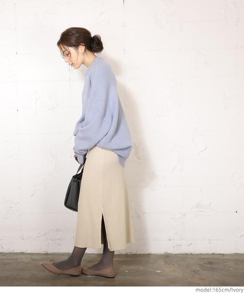 [coca] サイドスリットミモレ丈リブニットスカート
