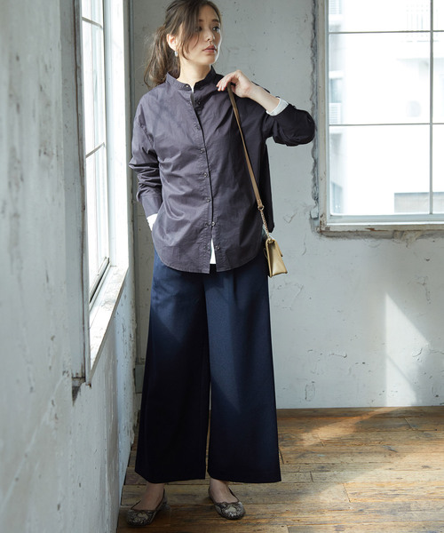 [ROPE' PICNIC] 【WEB限定】バックリボンバンドカラーシャツ