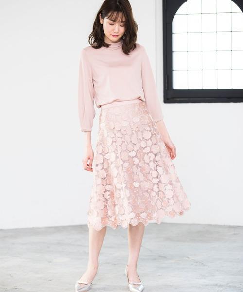 [ANAYI] 3Dレースフレア スカート