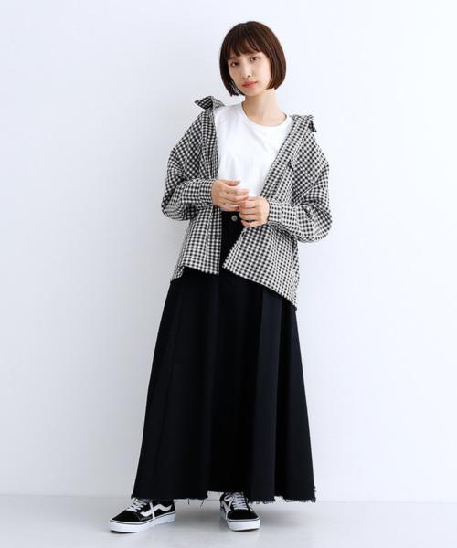 [merlot] ギンガムチェック柄ジャケットシャツ8791