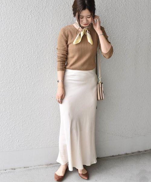 [SHIPS for women] Khaju:セミフレアスカート
