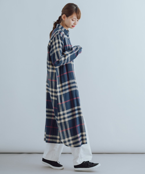 [itowa tokyo&wordtrobe] 【wordtrobe】コットンフランネル チェックシャツワンピ