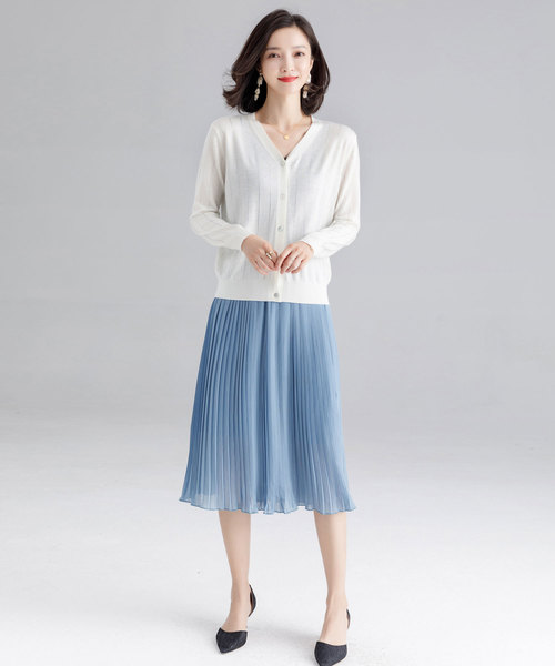 [SAISON DE PAPILLON] 全7色ふんわりシフォンプリーツミモレ丈スカート