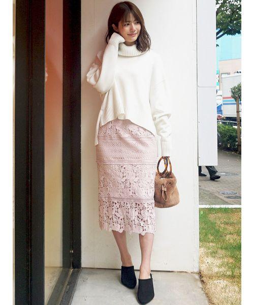 [MERCURYDUO] ブロッキングケミカルレースタイトスカート