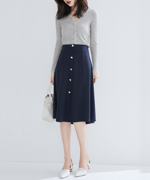 [SAISON DE PAPILLON] ハートボタンミモレ丈スカート
