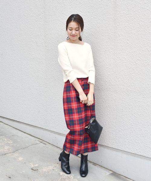 [SHIPS for women] タータンチェックタイトスカート◇