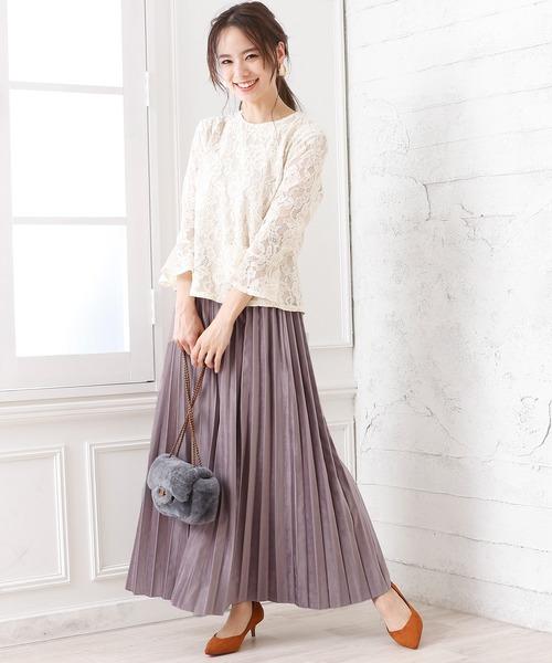 [Doula Doula] スウェード プリーツスカート