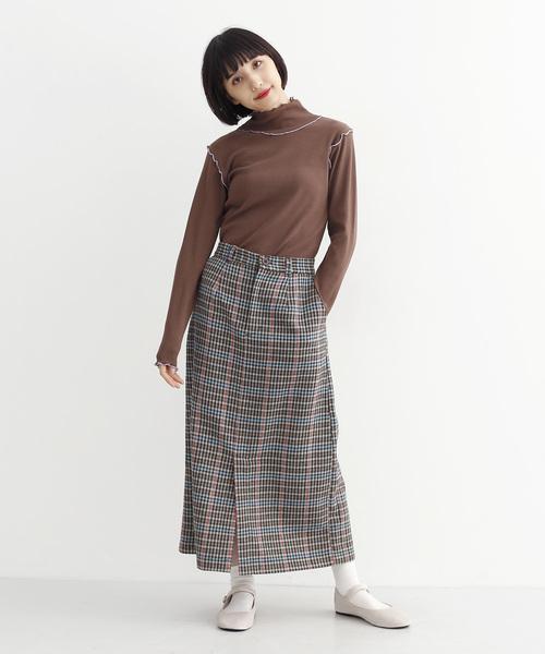 [merlot] チェック柄フロントベンツセミタイトスカート3408