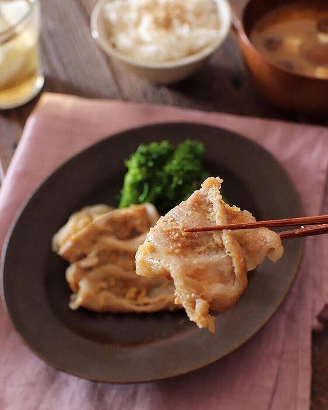 キーマカレーに付け合わせたい豚肉のみそ生姜焼き