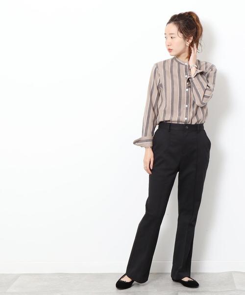 [coen] コットンウールリネンバンドカラーシャツ