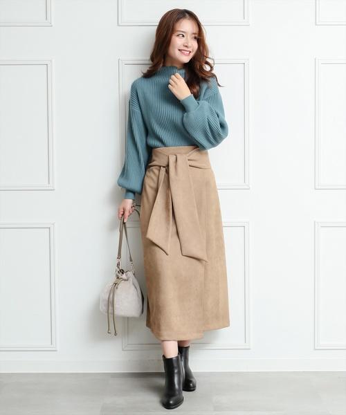[clear] ≪2019AW新作≫ウエストリボンスエードスカート