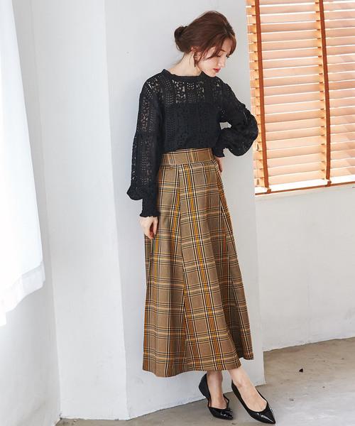 [GeeRA] 【WEB限定】チェック柄ロングスカート
