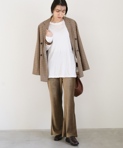[select MOCA] リブベロアロングパンツ/やわらか素材ウエストゴムハイウエスト裾フレアパンツ