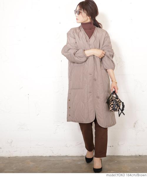 [coca] サイドボタンロング丈中綿キルティングコート