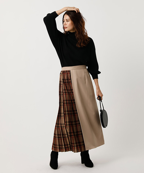 [AZUL BY MOUSSY] CHECK PLEAT MIX SKIRT/チェックプリーツミックススカート