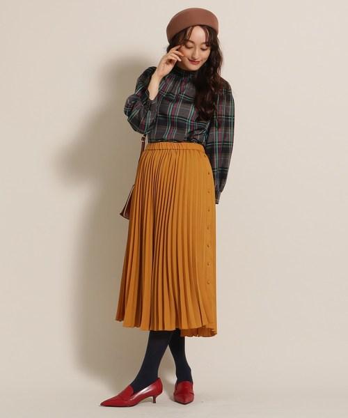 [anatelier] 【Lサイズあり】サイドボタン プリーツスカート