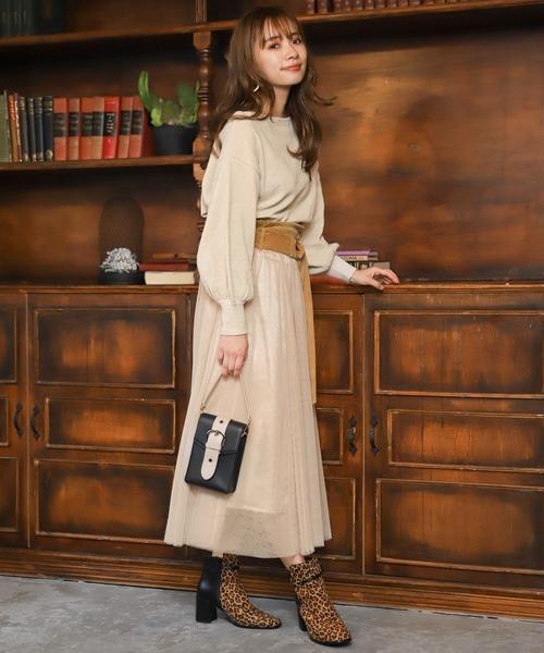 [mysty woman] チュール切り替えボリュームスカート 859419