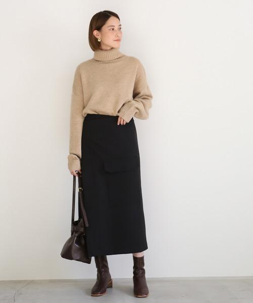 [select MOCA] アウトフラップポケット巻きスカート/ミモレ丈ビックポケットデザインラップスカート