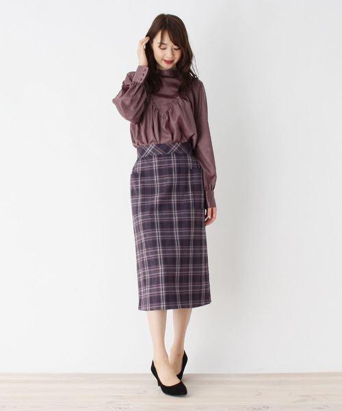 [OPAQUE.CLIP] 【洗える】チェックポケットタイトスカート