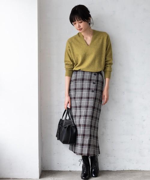 [TIENS ecoute] ウールチェックセミマーメイドスカート