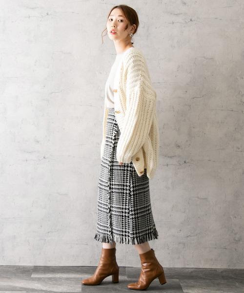 [URBAN RESEARCH ROSSO WOMEN] ランダム千鳥チェックフリンジスカート