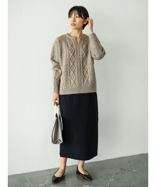 [AMERICAN HOLIC] モチフワ裾スリットニットタイトスカート