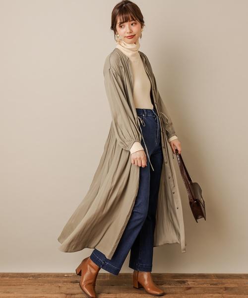 [natural couture] とろみサテンたっぷりギャザーワンピース