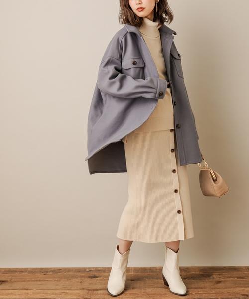 [natural couture] フロントボタンリブニットスカート