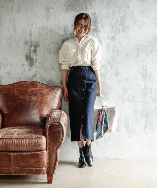 [BAYFLOW] 【Lee(リー)】別注フロントボタンスカート
